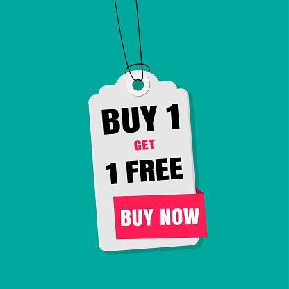 Label Sale Buy 1 Get 1 Gratis Kopen Nu Vector Image Stockvectorkunst en meer beelden van Advertentie