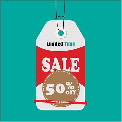 Label Sale Limited Time Koop 50 Korting Op Speciale Korting Vector Image Stockvectorkunst en meer beelden van Advertentie