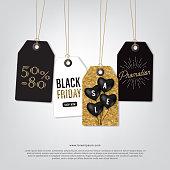 Tag sale of Black friday, glitter gold background, black heart balloon, Sale online shopping, Poster banner vector illustration