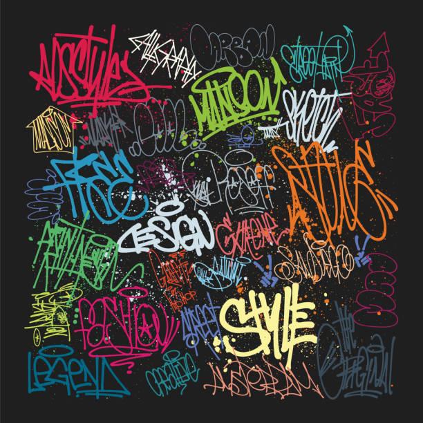 illustrations, cliparts, dessins animés et icônes de taging sur le mur. beau art de rue du graffiti - graffiti