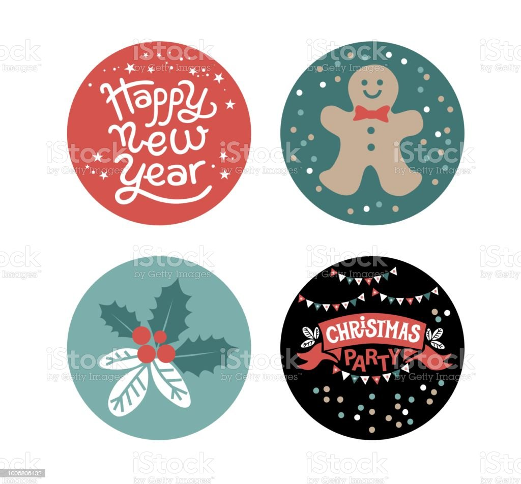 Tags labels or stickers design for christmas party and happy new year with festive christmas