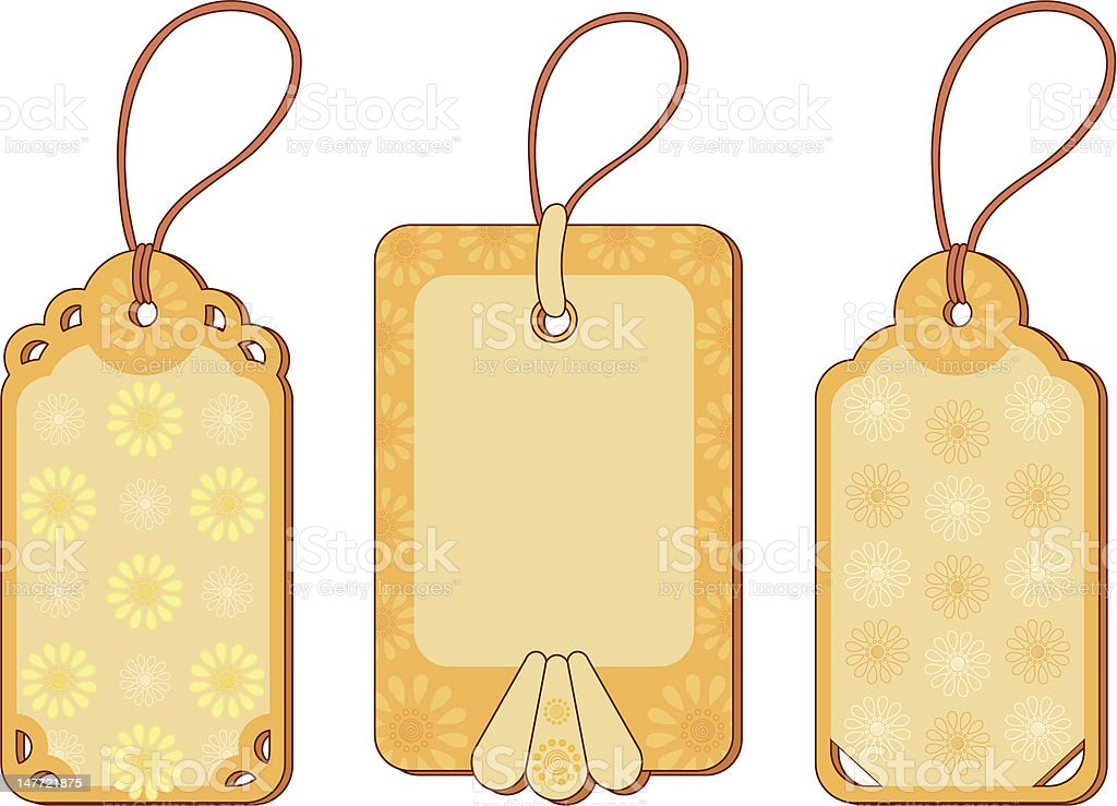 Tags with floral pattern royalty-free stock vector art