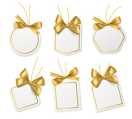 Tags with gold bows. Blank white price paper labels with golden ribbons for christmas, birthday or wedding packaging gift vector realistic isolated templates collection