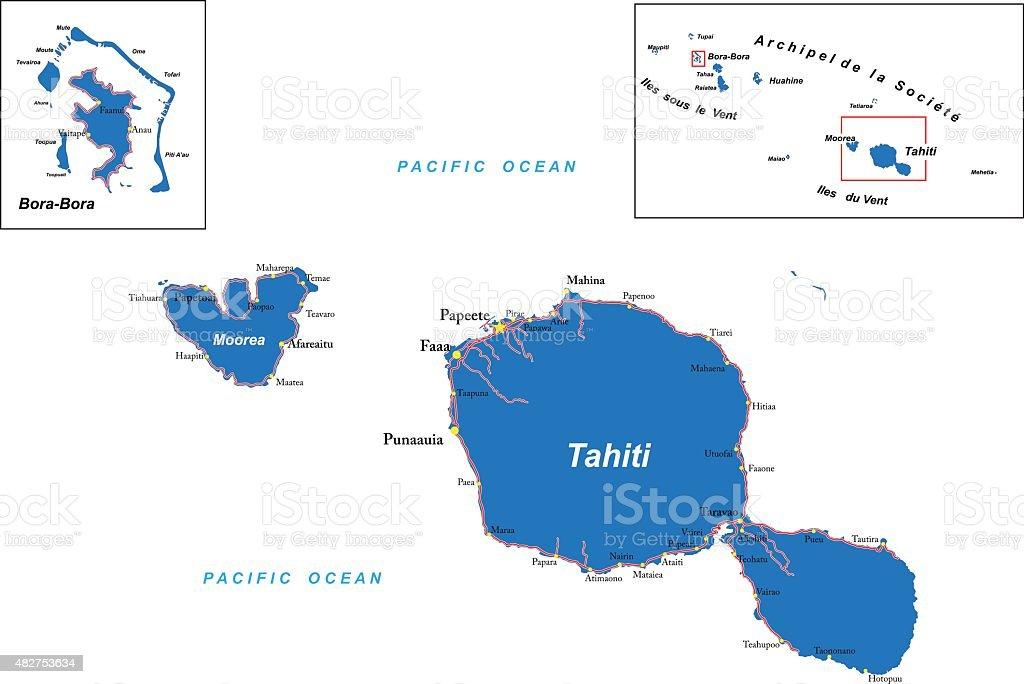 Tahiti And Borabora Map Stock Vector Art & More Images of 2015 - iStock