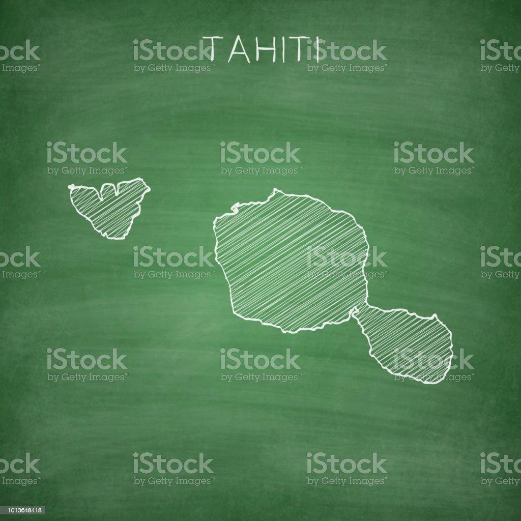 Tahiti French Polynesia Map Drawn On Chalkboard Blackboard ...