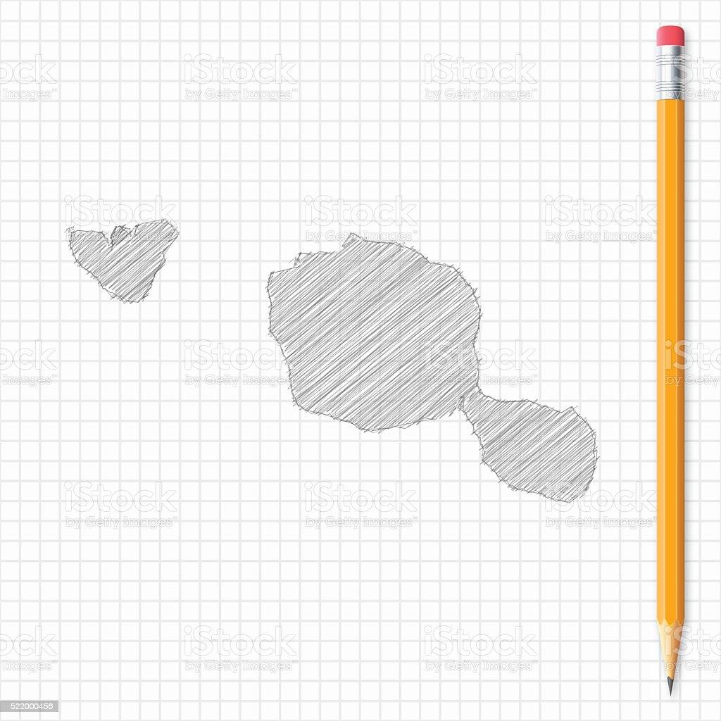 Ilustración De Tahitípolinesia Con Lápiz De Dibujo Mapa De Red De