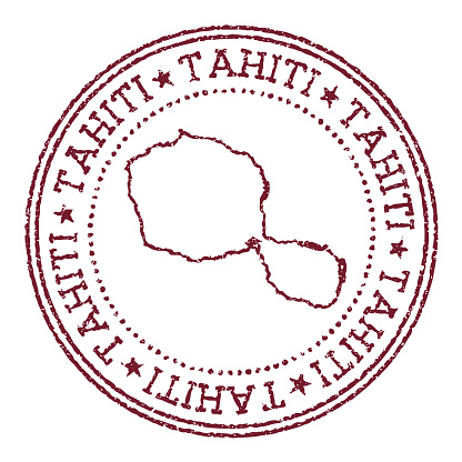 Tahiti round rubber stamp with island map.