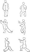 Vector line illustration of 6 figures in Tai Chi positions. One of a series.