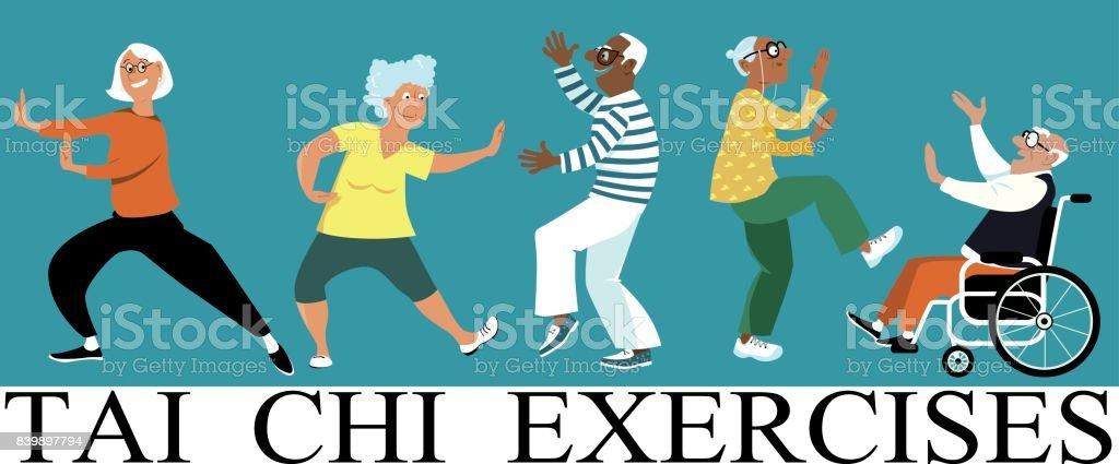 Tai chi for seniors vector art illustration