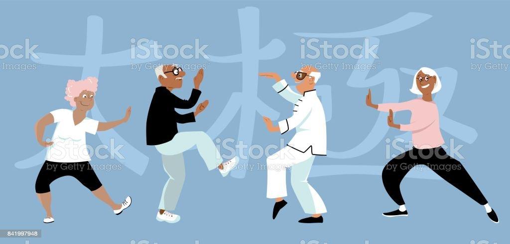 Tai Chi group vector art illustration