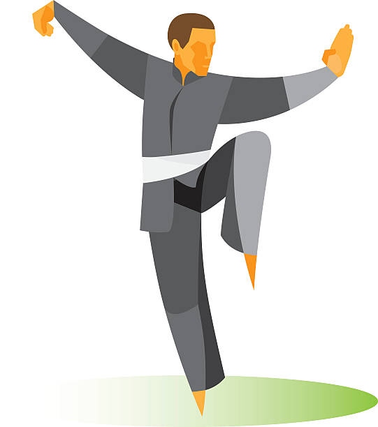 Tai Chi position Tai Chi position qigong stock illustrations