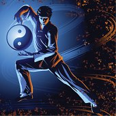 Vector illustration of man doing Tai Chi form and gathering chi between his hands, symbolozed by the Yin Yung symbol
