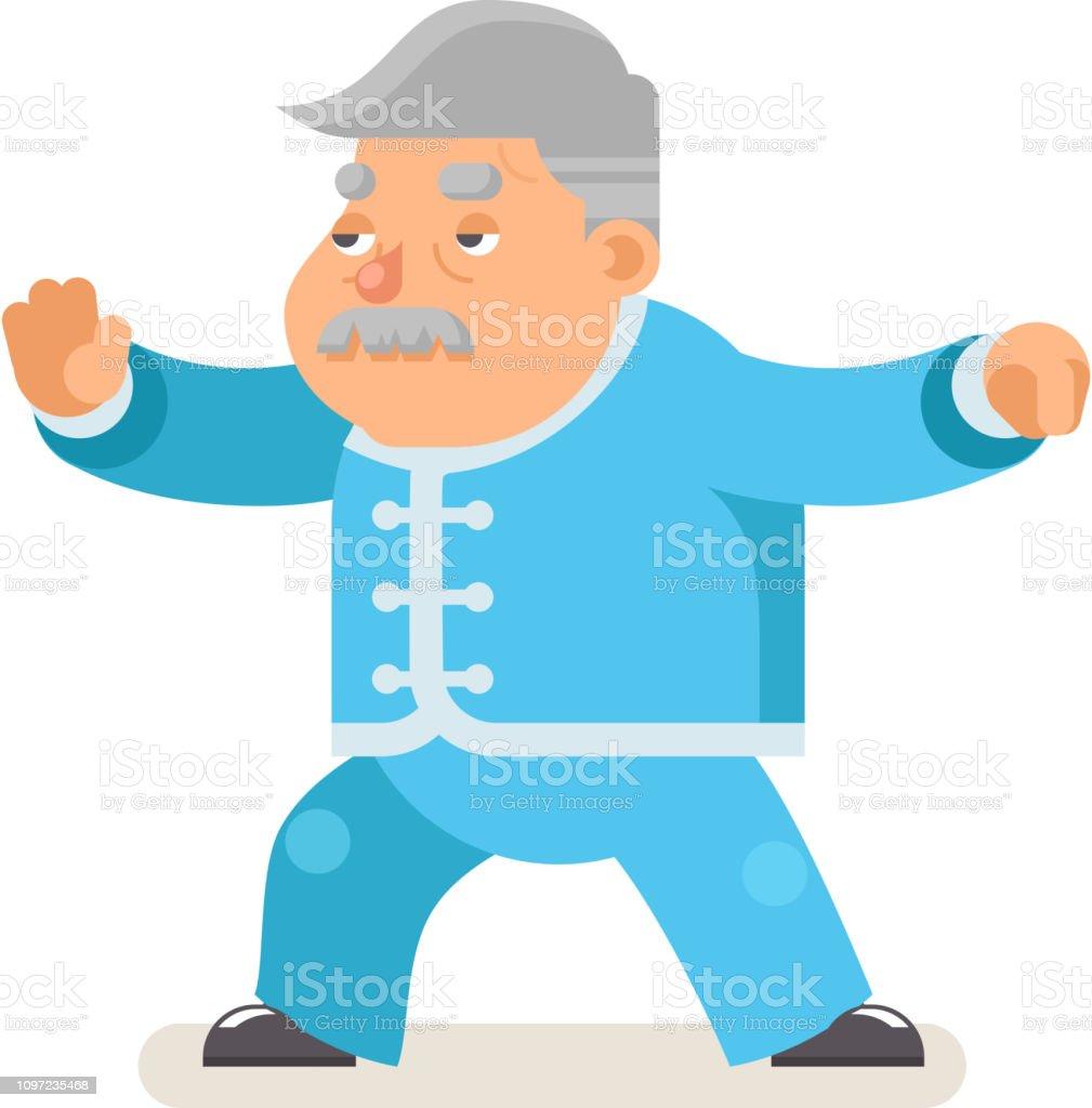 太極拳武術カンフー フィットネス健康活動祖父成人老年男キャラ漫画