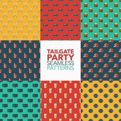 Tailgate Party Seamless Patterns