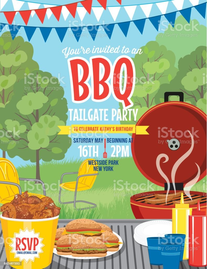 Tailgate Party Summer BBQ Invitation Template vector art illustration