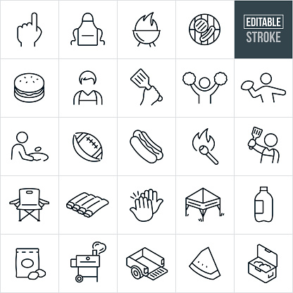 Tailgating Thin Line Icons - Editable Stroke