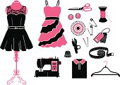 Tailor and Garment black & pink icon set