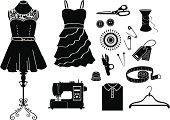 Tailor and Garment black & white icon set