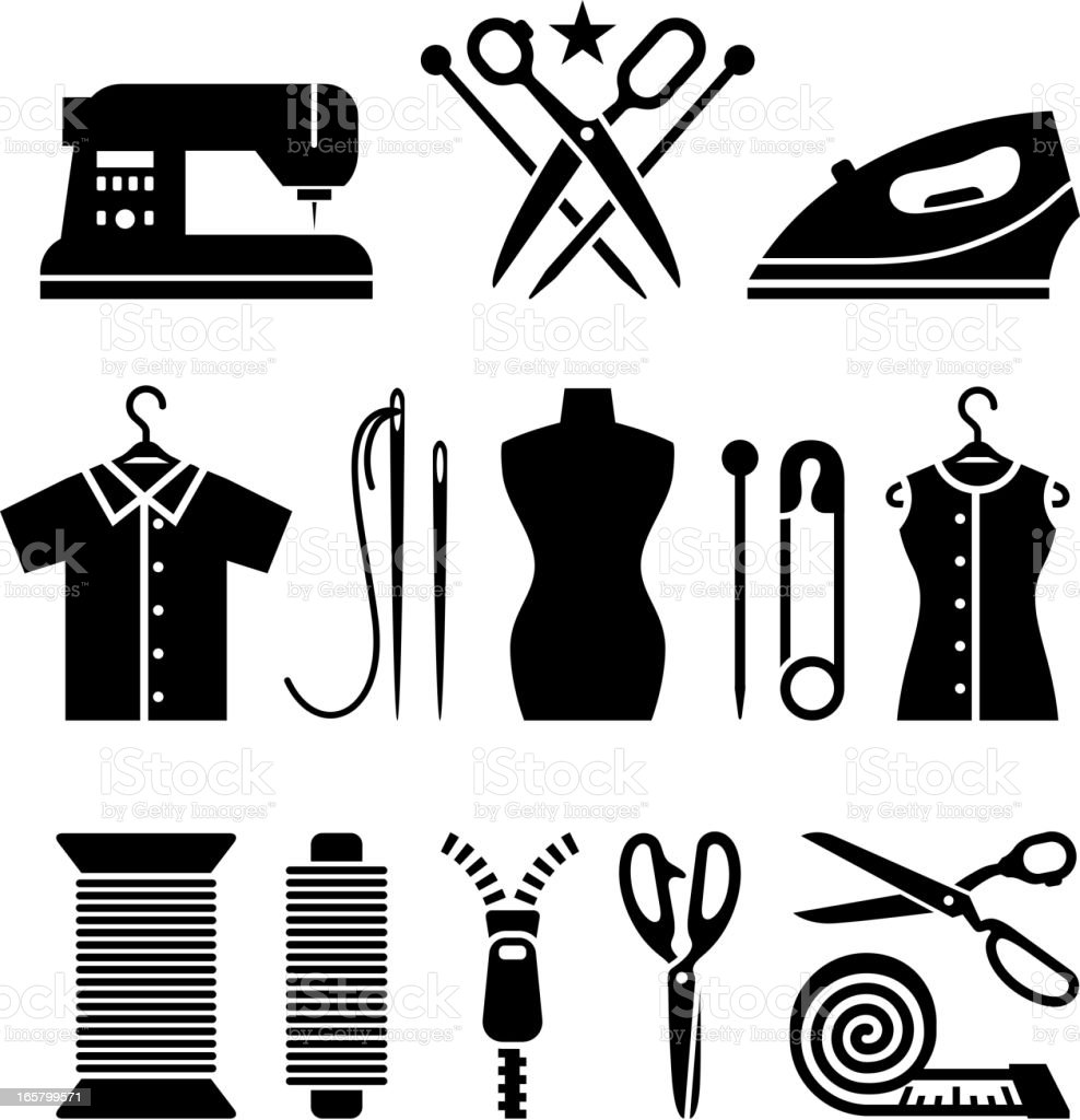 Tailor and garment industry black & white vector icon set royalty-free stock vector art