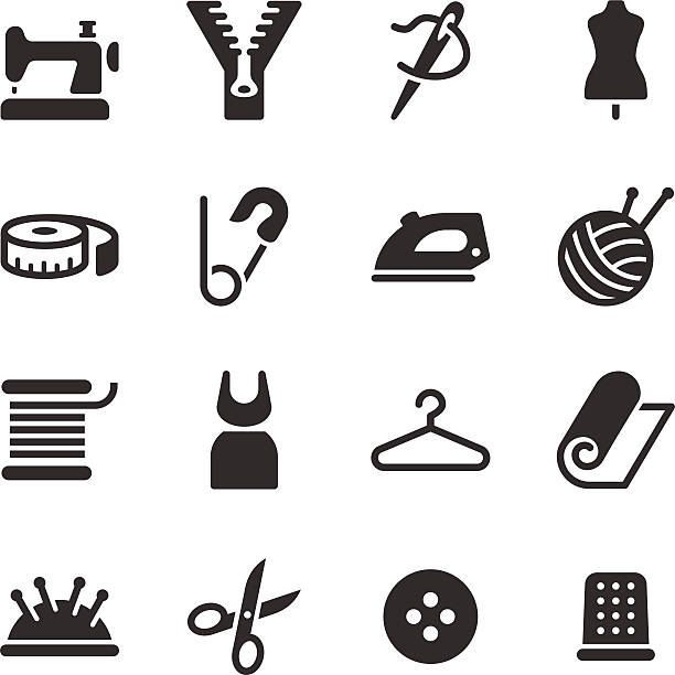 tailor icons - textile stock illustrations, clip art, cartoons, & icons