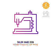 Tailor made vector icon illustration for logo, emblem or symbol use. Part of continuous one line minimalistic drawing series. Design elements with editable gradient stroke line.