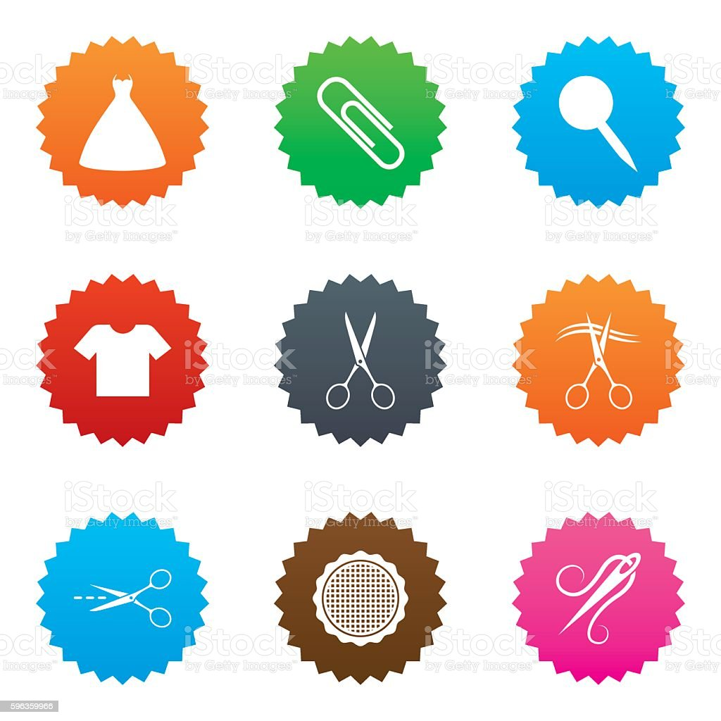 Tailor, sewing and embroidery icons. Scissors. royalty-free tailor sewing and embroidery icons scissors stock vector art & more images of attached