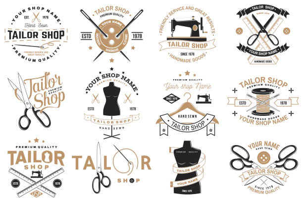 stockillustraties, clipart, cartoons en iconen met kleermaker winkel badge. vector. concept voor shirt, print, stempel label of tee. vintage typografie ontwerp met naaien naald en schaar silhouet. retro design voor naaien shop business - op maat gemaakt