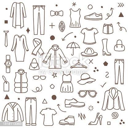 Tailor Shop Doodle Pattern Illustration