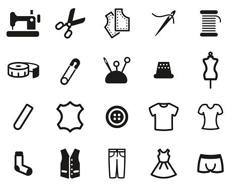 Tailor Shop Icons Black & White Set Big
