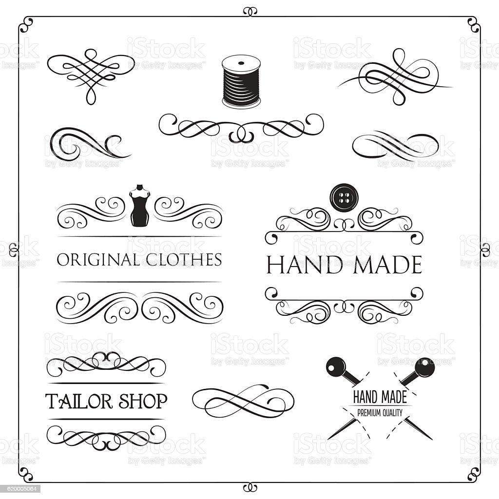 Tailor shop label badge, sewing kit. Hand made. Mannequin. Fashion vector art illustration