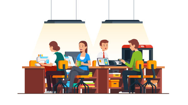 illustrazioni stock, clip art, cartoni animati e icone di tendenza di tailor shop sewing machine, wooden table, chairs, fabric and 3d printer with materials in diy workshop studio room. smiling craftsman people working together. flat isolated vector - tailor working