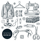 Tailored fashionable mens suit. Sewing tools and tailor equipment set, isolated on white background. Vector hand drawn sketch illustration. Craft business of making clothes industry