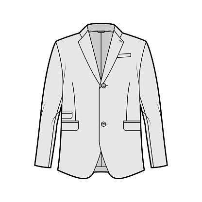 Tailored jacket lounge suit technical fashion illustration with long sleeves, notched lapel collar, flap went pockets