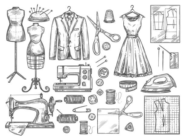 Tailoring and dressmaking vector sketch icons Tailor or dressmaker work and fashion designer atelier sketch items. Vector sewing machine or seamstress pattern cut and dress fitting dummy mannequin with thread, needle or thimble and iron fashion design sketches stock illustrations