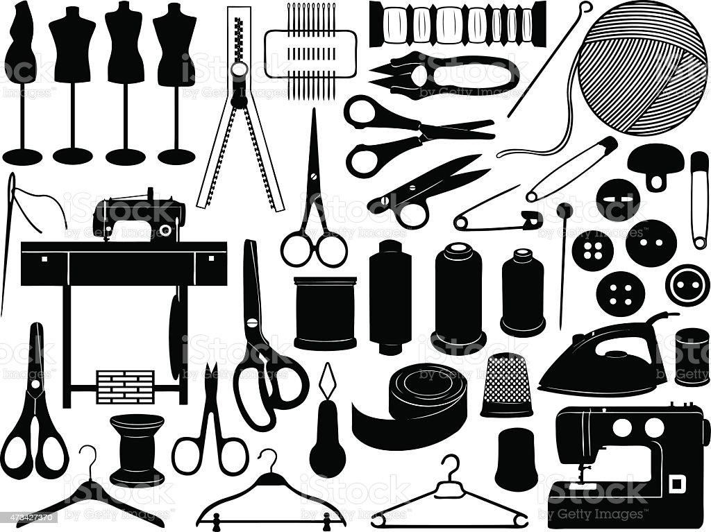 Tailoring equipment vector art illustration