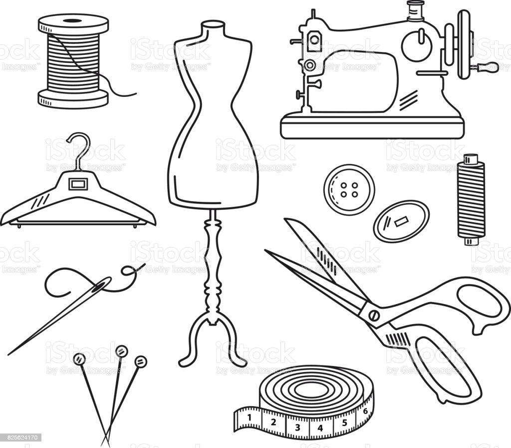 Ilustración de Ilustración De Vector Set Costura Estilo En y más ...