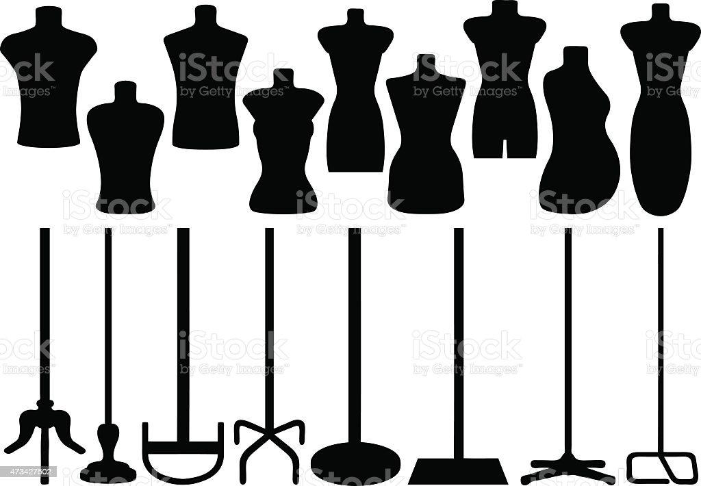 Tailor's mannequin vector art illustration