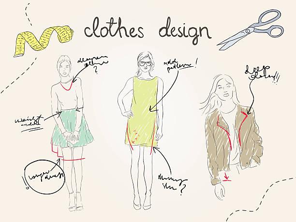 passen sie das projekt des künftigen kollektion - couture stock-grafiken, -clipart, -cartoons und -symbole