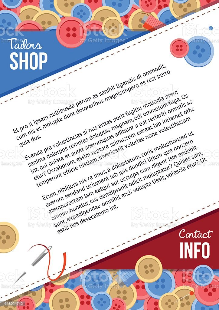 Tailors shop poster template with buttons and sewing items - Illustration vectorielle