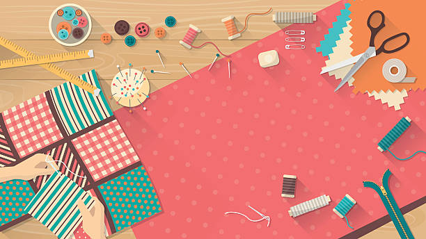 tailor's table - art and craft stock illustrations