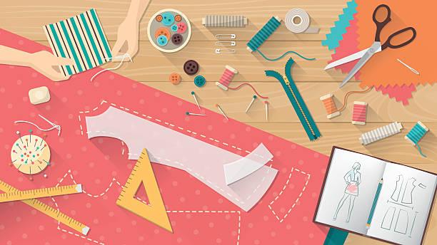 illustrazioni stock, clip art, cartoni animati e icone di tendenza di sarto di tavolo - tailor working