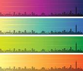 Taipei Multiple Color Gradient Skyline Banner