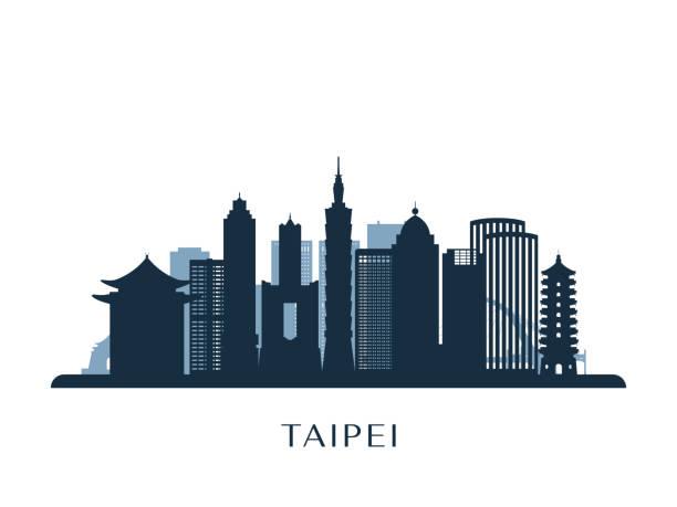 skyline von taipei, monochrome silhouette. vektor-illustration. - insel taiwan stock-grafiken, -clipart, -cartoons und -symbole