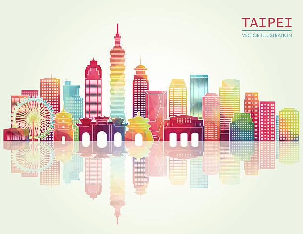 台北の街並みを一望します。ベクトルイラスト - 台湾点のイラスト素材/クリップアート素材/マンガ素材/アイコン素材