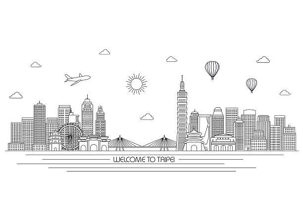 taipei skyline. vector line illustration. line style design - 台灣 幅插畫檔、美工圖案、卡通及圖標