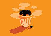 orange Taiwan bubbles milk tea background illustration