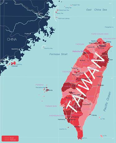 Taiwan detailed editable map
