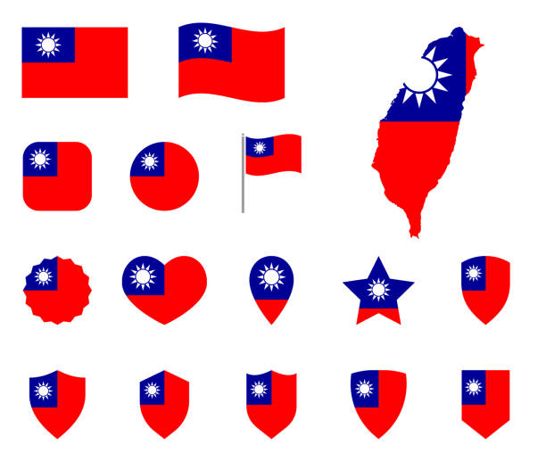 taiwan-fahn-icon gesetzt, flagge der republik china symbole - insel taiwan stock-grafiken, -clipart, -cartoons und -symbole