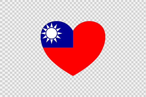 Taiwan flag in heart shape isolated  on png or transparent  background,Symbols of Taiwan, template for banner,card,advertising ,promote,vector, top gold medal sport winner country