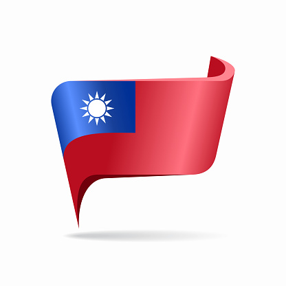 Taiwan flag map pointer layout. Vector illustration.